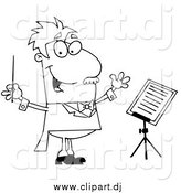 May 2nd, 2015: Cartoon Vector Clipart of a Lineart Music Conductor by Hit Toon