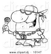 Cartoon Vector Clipart of a Lineart Rapper Dude Singing by Hit Toon