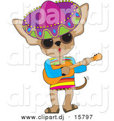 Cartoon Vector Clipart of a Mexican Chihuahua Wearing a Sombrero and Playing a Guitar by Maria Bell