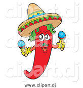 Cartoon Vector Clipart of a Mexican Chili Pepper Shaking Maracas by Visekart