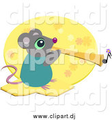 November 27th, 2014: Cartoon Vector Clipart of a Mouse Playing a Horn by