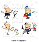 Cartoon Vector Clipart of a Music Conductor Mailman Veterinarian and Magician by Hit Toon