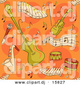 Cartoon Vector Clipart of a Music Instrument Pattern - Seamless Orange Background by BNP Design Studio