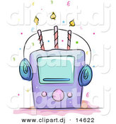 Cartoon Vector Clipart of a Music Player on a Birthday Cake with Three Candles by BNP Design Studio