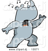 August 21st, 2015: Cartoon Vector Clipart of a Musical Rhino Singing and Lunging Forward by Cory Thoman
