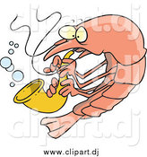 August 1st, 2014: Cartoon Vector Clipart of a Musical Shrimp Playing a Saxophone by Toonaday