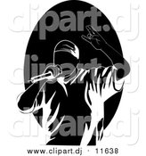 Cartoon Vector Clipart of a Performing Black and White Rapper or Hip Hop Artist Singing into a Microphone by R Formidable