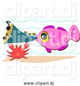 Cartoon Vector Clipart of a Pink Fish Blowing a Horn by a Crab by