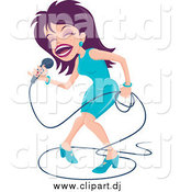 August 2nd, 2015: Cartoon Vector Clipart of a Purple Haired Female Singer Dancing on Stage by John Schwegel