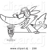 Cartoon Vector Clipart of a Radio Wolf Talking into a Microphone - Line Art Coloring Page Outline by Toonaday
