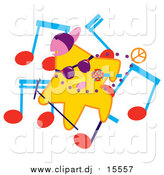 April 2nd, 2016: Cartoon Vector Clipart of a Rapper Star with Music Notes by Cherie Reve