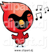 May 16th, 2015: Cartoon Vector Clipart of a Red Baby Chick Whistling by Cory Thoman