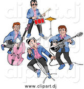 Cartoon Vector Clipart of a Rockabilly Music Band Singing and Playing the Bass Drums and Guitar by LaffToon