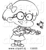 Cartoon Vector Clipart of a School Girl Playing Violin - Coloring Page Outline - Black and White by Toonaday