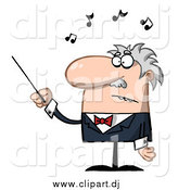 Cartoon Vector Clipart of a Senior Music Conductor Waving a Baton by Hit Toon