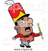 June 10th, 2015: Cartoon Vector Clipart of a Short Black Conductor in a Marching Band by Cory Thoman