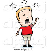 Cartoon Vector Clipart of a Singing Blond Boy with His Hand Raised by Cory Thoman