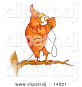 Cartoon Vector Clipart of a Singing Cartoon Canary Bird on a Branch by Any Vector