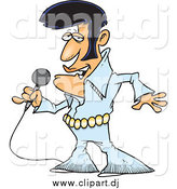 November 1st, 2014: Cartoon Vector Clipart of a Singing Elvis Impersonator by Toonaday