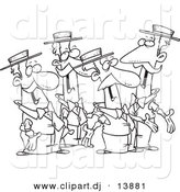 Cartoon Vector Clipart of a Singing Guys Quartet - Coloring Page Outline - Black and White by Toonaday