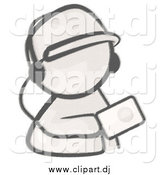 Cartoon Vector Clipart of a Sketched Man Holding an Mp3 Player by Leo Blanchette