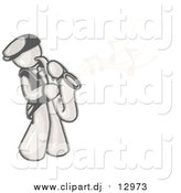 Cartoon Vector Clipart of a Sketched Man Playing Jazz with a Golden Saxophone, Music Notes Floating in the Air by Leo Blanchette