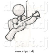 Cartoon Vector Clipart of a Sketched Man Sitting on a Music Note and Playing a Guitar by Leo Blanchette