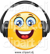 August 17th, 2014: Cartoon Vector Clipart of a Smiley Face Wearing Head Phones and Smiling by Yayayoyo