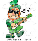 Cartoon Vector Clipart of a St. Patrick's Day Leprechaun Playing a Guitar by Dennis Holmes Designs