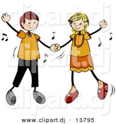 Cartoon Vector Clipart of a Stick Figure Kids Dancing to Music by BNP Design Studio