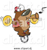Cartoon Vector Clipart of a Talented Bear Playing Music and Riding a Unicycle by Toonaday