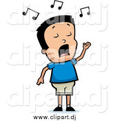 Cartoon Vector Clipart of a Talented Black Haired Boy Singing by Cory Thoman