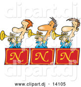 Cartoon Vector Clipart of a Trumpet Band Playing Music by Toonaday