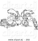 Cartoon Vector Clipart of a Two DJ Kids in a Studio Wearing Headphones by Toonaday