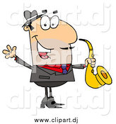 Cartoon Vector Clipart of a White Cartoon Saxophone Player Man by Hit Toon