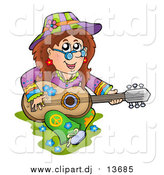 March 15th, 2016: Cartoon Vector Clipart of a White Hippie Lady Playing a Guitar by Visekart