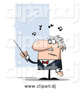 Cartoon Vector Clipart of a White Male Conductor Waving a Baton by Hit Toon
