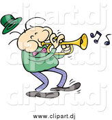 Cartoon Vector Clipart of a White Male Trumpet Musician in a Dark Green Shirt by Gnurf