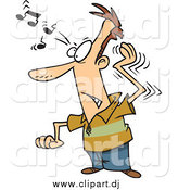 Cartoon Vector Clipart of a White Man Trying to Get a Song out of His Head by Toonaday