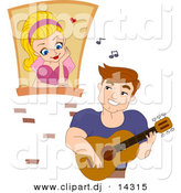 Cartoon Vector Clipart of a Young Man Playing Music to Girl Watching from a Window in a Castle by BNP Design Studio