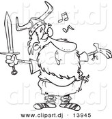 Cartoon Vector Clipart of an Old Singing Viking Holding a Sword - Coloring Page Outline - Black and White by Toonaday