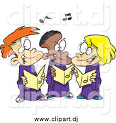 May 27th, 2015: Cartoon Vector Clipart of Cartoon Singing Children in a Choir by Toonaday