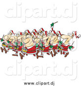 Cartoon Vector Clipart of Christmas Drummers Drumming by Toonaday