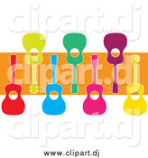 Cartoon Vector Clipart of Colorful Ukuleles and an Orange Stripe by Maria Bell