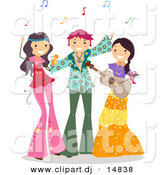 Cartoon Vector Clipart of Happy Teens at a Hippie Themed Party with Music by BNP Design Studio