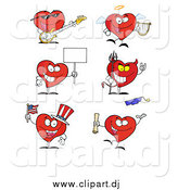 Cartoon Vector Clipart of Heart Characters by Hit Toon
