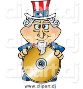 Cartoon Vector Clipart of Uncle Sam Standing Behind a Blank Gold CD by Dennis Holmes Designs