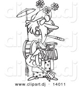 Cartoon Vector of One Woman Band - Coloring Page Outline by Ron Leishman