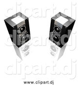 Clipart of 3d Black and Silver Stereo Speakers Facing Slightly Towards Each Other, on a Reflective White Surface by KJ Pargeter