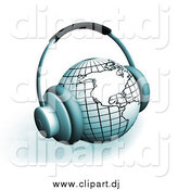 April 10th, 2015: Clipart of 3d Headphones on a Globe Featuring the Americas, over White by KJ Pargeter